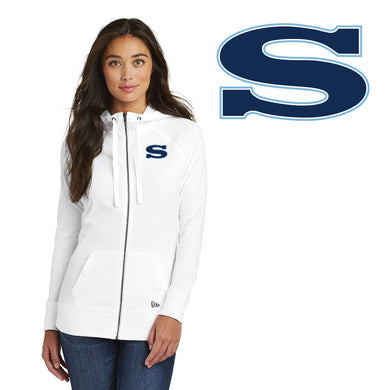 SKYLINE HS BASEBALL – Ladies Sueded Cotton Blend Full-Zip Hoodie (White)