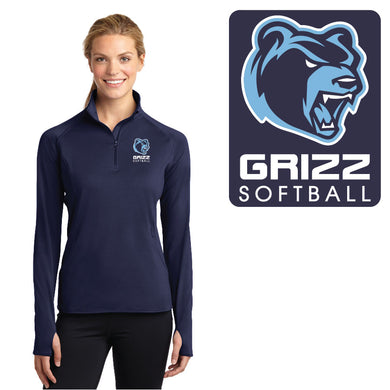 SKYLINE HS SOFTBALL – Ladies Sport-Wick Stretch 1/2-Zip Pullover (True Navy)