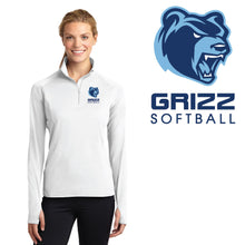 Load image into Gallery viewer, SKYLINE HS SOFTBALL – Ladies Sport-Wick Stretch 1/2-Zip Pullover (White)