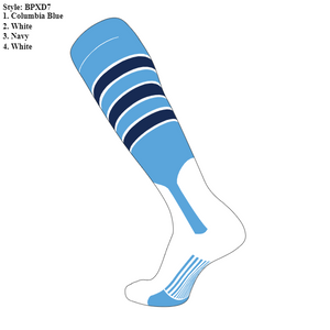 SKYLINE HS BASEBALL – JV 7-in Stirrup Feather Edge Sock #2 (Columbia/Navy/White)