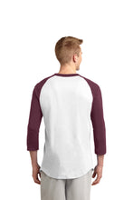 Load image into Gallery viewer, RIGBY HS – Maroon Distressed Trojan Colorblock Raglan Jersey (Maroon/White)