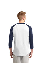 "Load image into Gallery viewer, SKYLINE HS – Navy ""S"" Colorblock Raglan Jersey (White/Navy)"