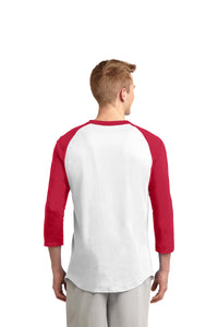 POCATELLO HS – Black Indian Head Colorblock Raglan Jersey (Red/White)