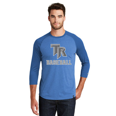 TRHS BASEBALL – Cotton-Poly Blend 3/4-Sleeve Baseball Raglan Tee (Royal/Heather Royal)