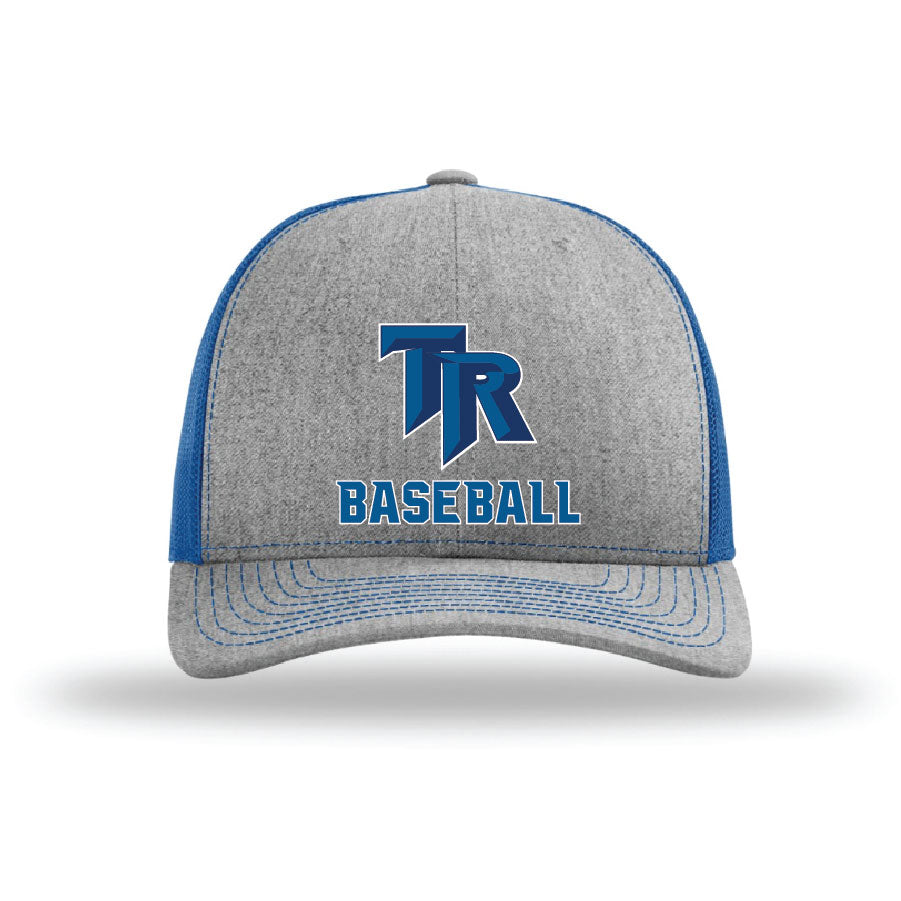 TRHS Baseball – Richardson Twill Trucker Mesh Snapback Cap (Heather Grey/Royal)