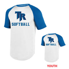 Load image into Gallery viewer, TRHS SOFTBALL – Wicking Short Sleeve Baseball Jersey (White/Royal)