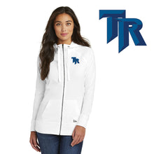 Load image into Gallery viewer, TRHS SOFTBALL – Ladies Sueded Cotton Blend Full-Zip Hoodie (White)