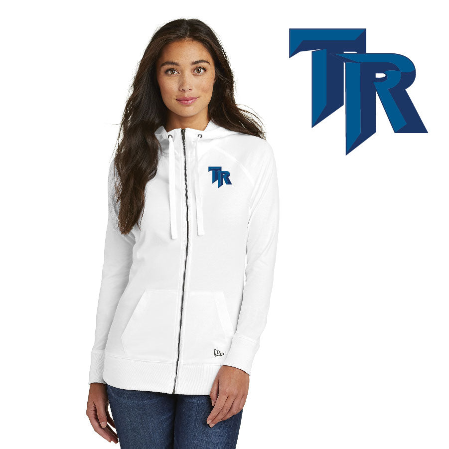 TRHS SOFTBALL – Ladies Sueded Cotton Blend Full-Zip Hoodie (White)