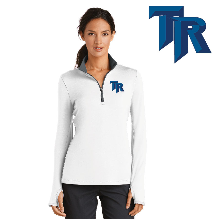 TRHS SOFTBALL – NIKE Ladies Dri-FIT Stretch 1/2-Zip Cover-Up (White/Dark Grey)