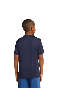 "SKYLINE HS YOUTH WEAR  – Youth Moisture-Wicking Tee with ""S"" (Navy)"