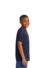 "Load image into Gallery viewer, SKYLINE HS YOUTH WEAR  – Youth Moisture-Wicking Tee with ""S"" (Navy)"