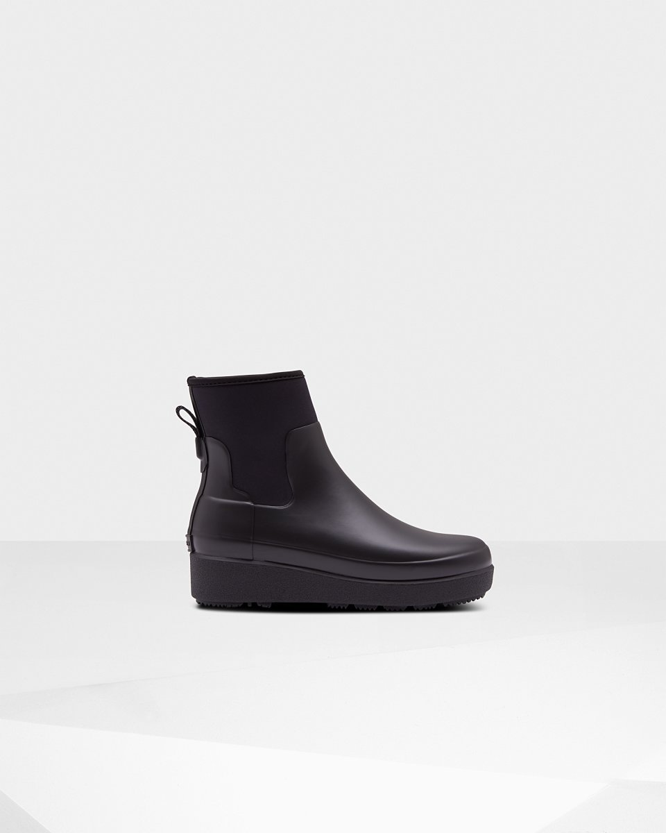 iotti-gioielli - Stivaletti Da Donna Refined Neoprene Creeper Chelsea Slim Fit: Nero - Hunter - Stivale