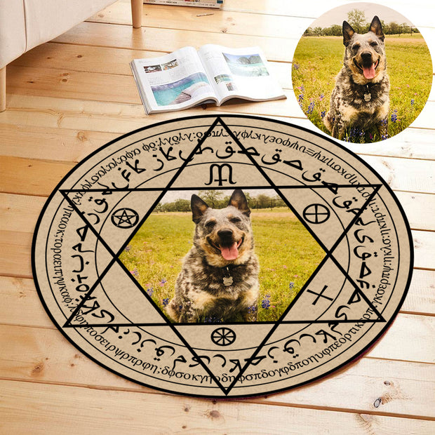 Custom Pet Photo Round Magic Array Rug - The Pet Pillow
