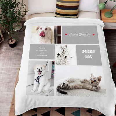 """Sweet Family"" Custom Pet Photos Collage Fleece Blanket with 4 Pet Pictures - The Pet Pillow"