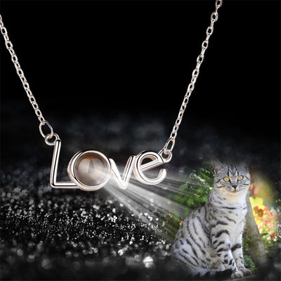 Love Words Custom Pet Projection Necklace - The Pet Pillow