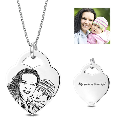 Custom Pet Photo Necklace with Heart Pendant-925 Sterling Silver - The Pet Pillow