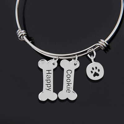 Custom Dog Bone Paw Prin Memorial Bracelet - The Pet Pillow