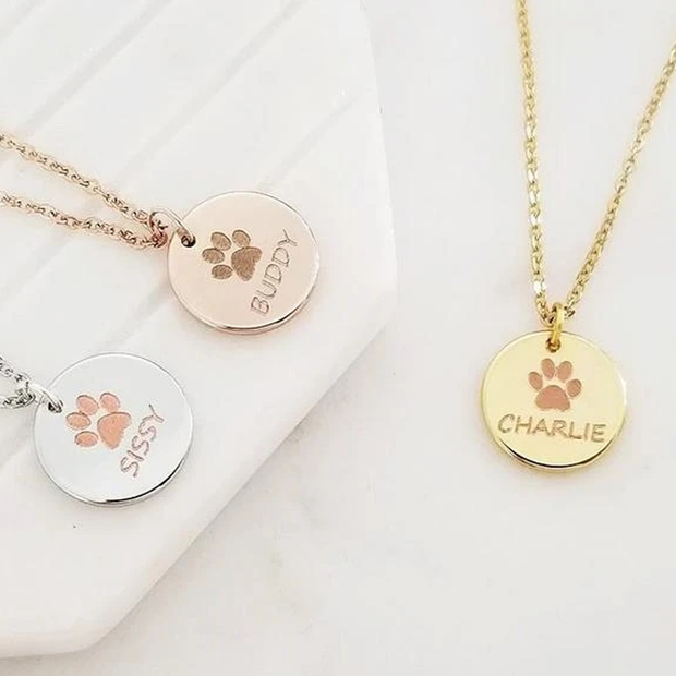Personalized Pet Name Necklace/ Custom Paw Print Necklace - The Pet Pillow