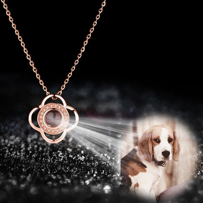 Four Leaf Clover Shaped Custom Pet Projection Necklace - The Pet Pillow
