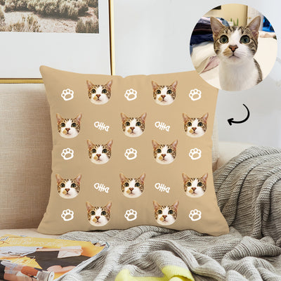 Customized Pet Multi-Face Square Pillow with Bones, Double-Sided Printing - The Pet Pillow