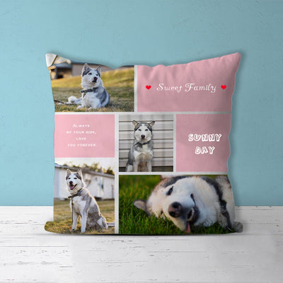 """Sweet Family"" Custom Pet Photos Collage Memorial Square Pillow with 4 Pet Pictures - The Pet Pillow"