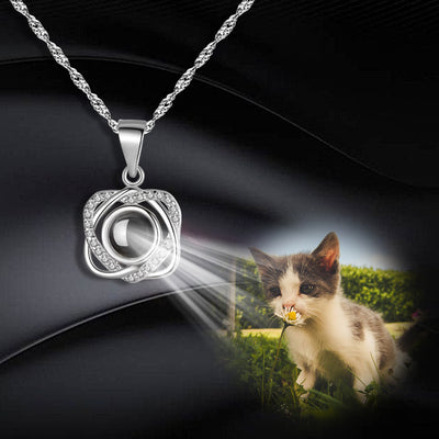Custom Pet Projection Necklace - Double Heart - The Pet Pillow