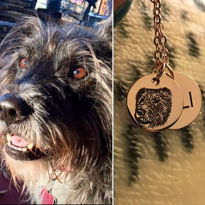 Custom Pet Necklace with Engraved Photo and Name - The Pet Pillow