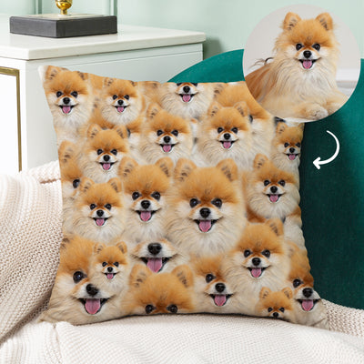 Custom Square Pillow Covered with All Dog Cat Face, Double Sided Printing - The Pet Pillow