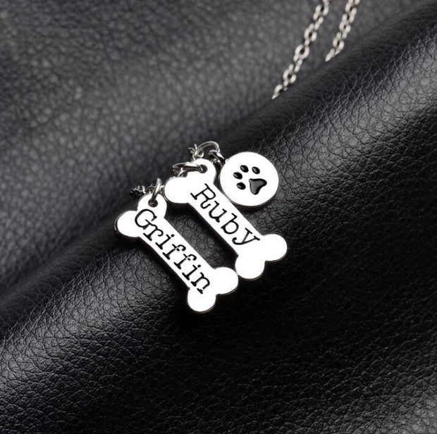 Custom Personalized Dog Bone Pet Paw Print Necklace Pet Memorial Gift /Mothers Day Gift/Pet Lover Gift - The Pet Pillow
