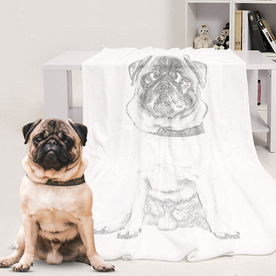 Custom Pet Sketch Portrait Art Fleece Blanket - The Pet Pillow