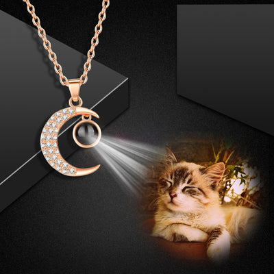 Custom Pet Projection Necklace - Moon and Sun - The Pet Pillow