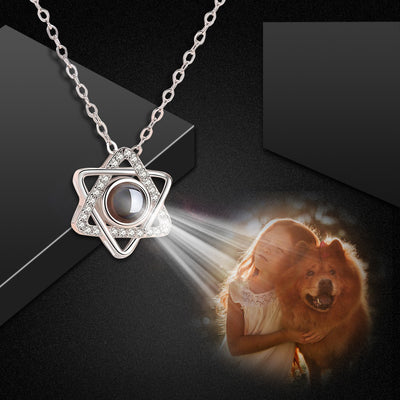 Custom Pet Projection Necklace - Hexagram - The Pet Pillow