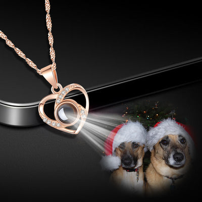 Custom Pet Projection Necklace - Heart Shaped - The Pet Pillow