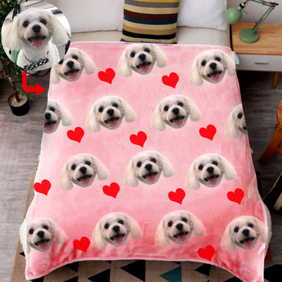 Custom Print Dog/Cat on Blanket with Red Heart - The Pet Pillow