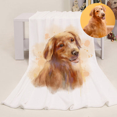 Personalized Pet Portrait Fleece Blanket from Hand Drawn Pastel Pet Art Portrait - The Pet Pillow