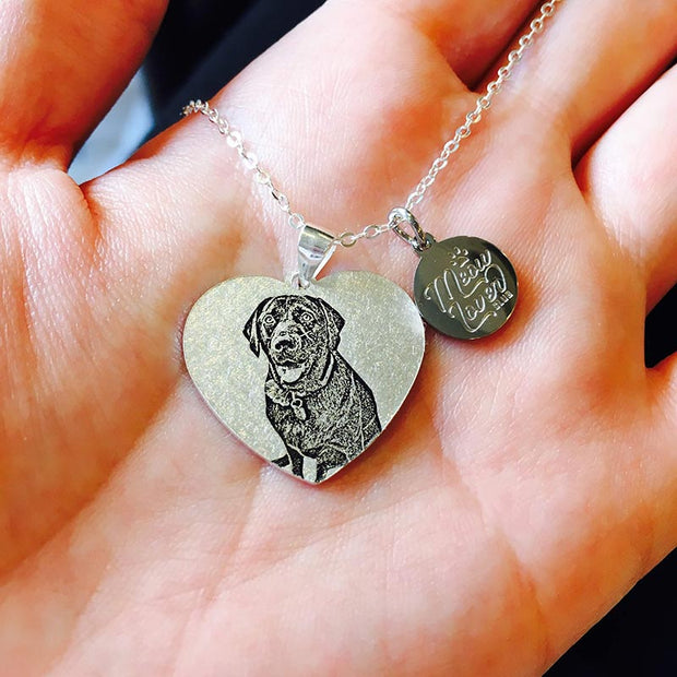 Pet memorial bracelet heart shape charm, Custom pet photo jewelry - The Pet Pillow