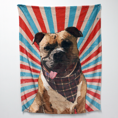 Custom Pet Oil Painting Portrait Blanket, Draw Head/Body - The Pet Pillow