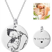 Custom Pet Photo Round Necklace Pendant-925 Sterling Silver - The Pet Pillow