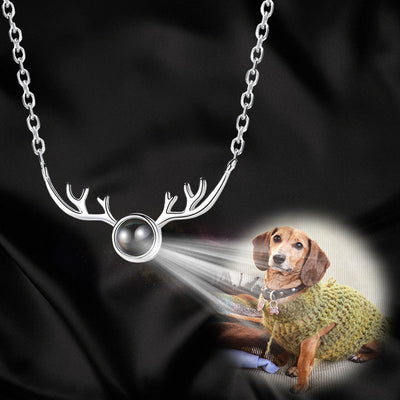 Sika Antler Shaped Custom Pet Projection Necklace - The Pet Pillow