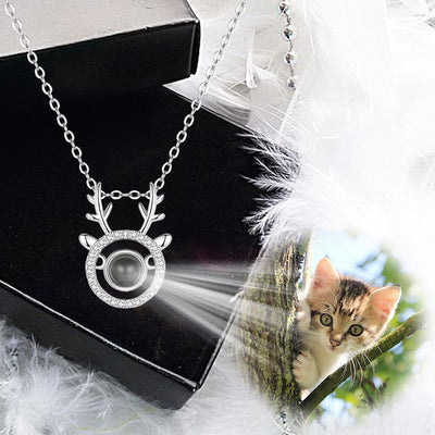 Antlers Shaped Custom Pet Projection Necklace - The Pet Pillow