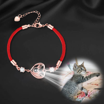 Heart with antlers Custom Pet Projection Bracelet - The Pet Pillow