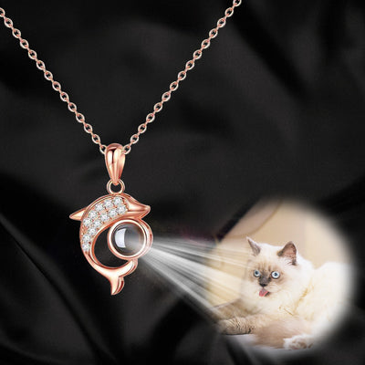 Dolphin Shaped Custom Pet Projection Necklace - The Pet Pillow