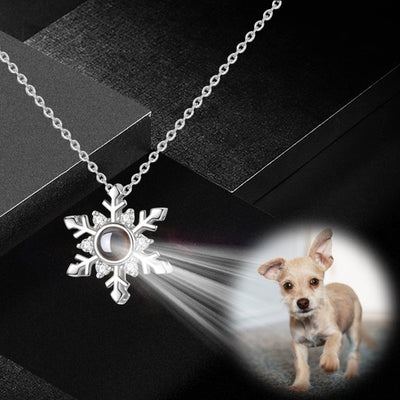 Snowflake Shaped Custom Pet Projection Necklace - The Pet Pillow
