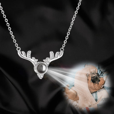 Zirconium Antlers Shaped Custom Pet Projection Necklace - The Pet Pillow
