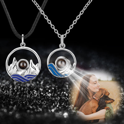 Sea and Mountain Couples Custom Projection Necklace - Package Two - The Pet Pillow