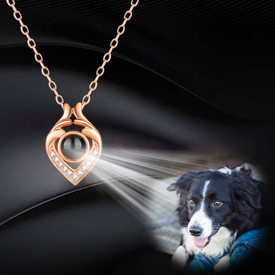 Little Heart Shaped Custom Pet Projection Necklace - The Pet Pillow