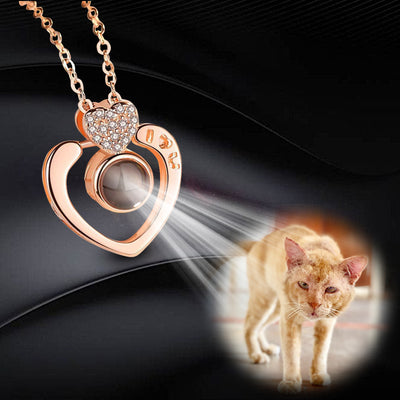 Big Heart Shaped Custom Pet Projection Necklace - The Pet Pillow