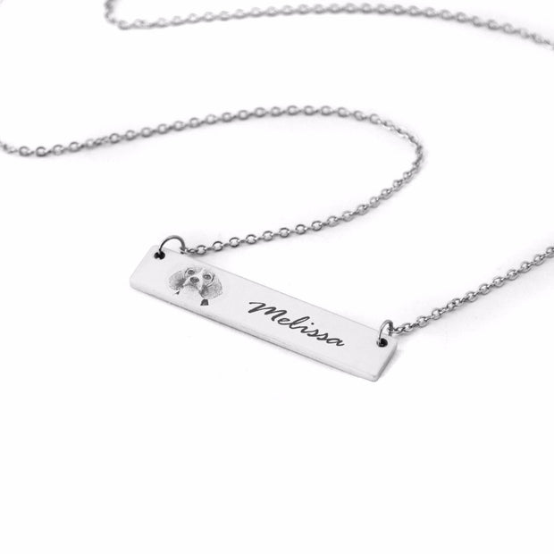 Custom Pet Lettering Bar Necklace for Pet Lover - The Pet Pillow