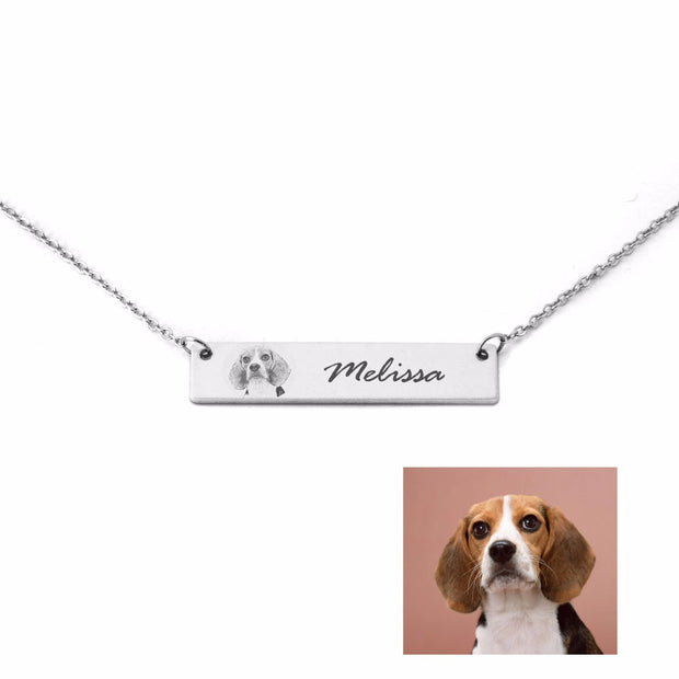 Custom Pet Bar Necklace /Pet Jewelry Dog Cat Necklace/Pet Lover Gift/Mothers Day Ideas - The Pet Pillow