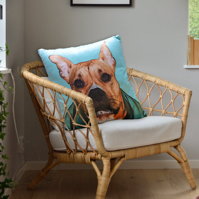Custom Pet Hand Draw Oil Painting Memorial Square Pillow with Draw Head or Full Body - The Pet Pillow
